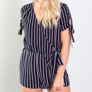 NWT Navy Striped Romper Size Small